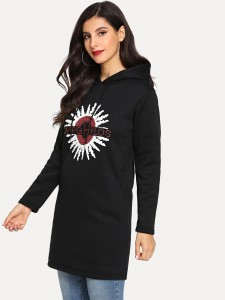 Faux Pearl Detail Sweatshirt And Skirt Two-piece Outfits