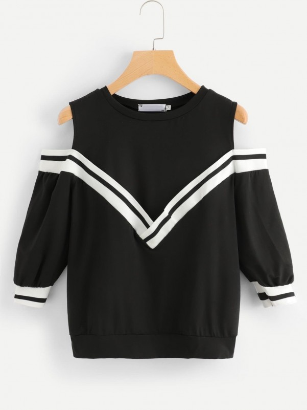 Frill Embroidery Blouse With Button Decoration Dropped Hem Skirt Two-piece Outfits