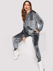 Plant Print Tie Back Top & Wide Leg Pants Two-piece Outfits