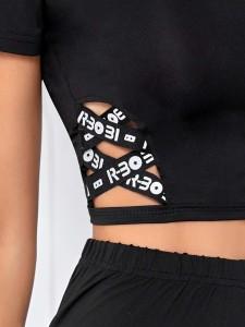 Girls Layered Hem Animal Print Top & Shorts Set Girls Clothing