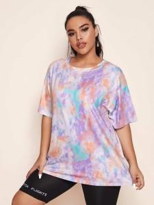 Plus Varsity Print T-shirt Plus Size Tops