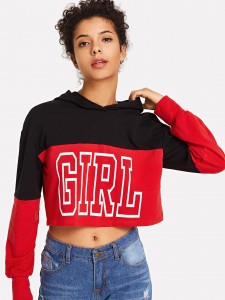 Letter Print Cuffed Tee Tops