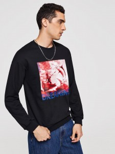 Cold Shoulder Ruffle Sleeve Portrait Patch Tee Tops