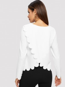 Frill Trim Solid Tee Tops