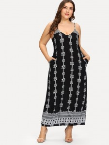 Asymmetrical striped t-shirt with large-pocket Plus Size Tops