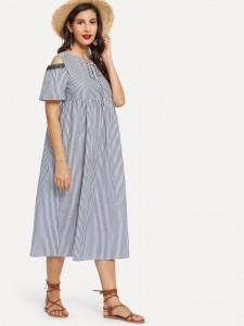 Contrast Trim Waterfall Collar Belted Coat Outerwear