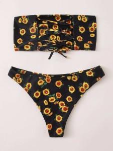 Plus Lace Panel Zip Back Blouse Pants Set Plus Size