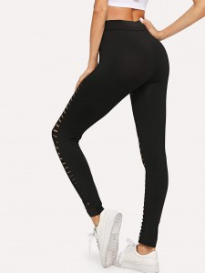 Contrast faux leather lace-up sneakers Women Shoes