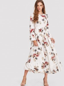 Girls Ruffle Trim Floral Top & Bow Front Scallop Shorts Set Girls Two-piece Outfits