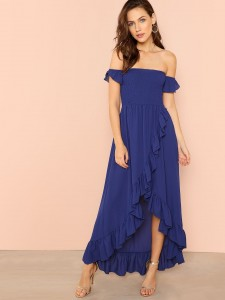Two Part Ruffle Detail Ankle Strap Heels Women Shoes