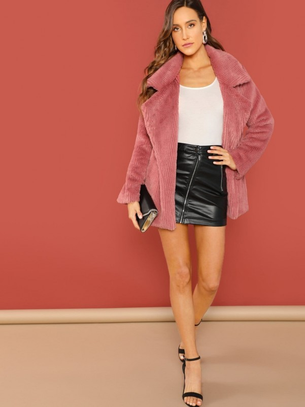 Pink fur slippers for home Women Shoes